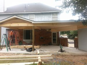 Framing exterior covered patio Houston