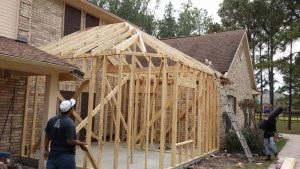 Room addition Katy, Tx framing and adding roof.