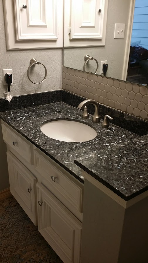 Houston bathroom granite countertop installation.