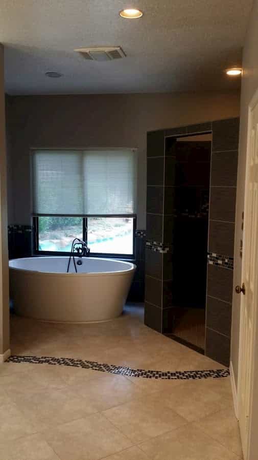Master bathroom remodel Spring, Tx with walk-in shower, mosaic tile and soaker tub.
